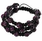 紫色软陶水钻球手链 多层编织款