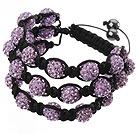 紫色软陶水钻球手链 特彩 多层编织款