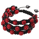 红色软陶水钻球手链 特彩 多层编织款