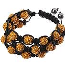 橘黄色软陶水钻球手链 特彩 多层编织款