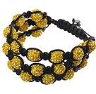 黄色软陶水钻球手链 特彩 多层编织款