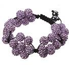 紫色软陶水钻球手链 特彩 花朵编织款