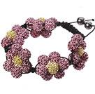 粉色软陶水钻球手链 特彩 花朵编织款