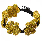 黄色软陶水钻球手链 特彩 花朵编织款