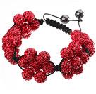 红色软陶水钻球手链 特彩 花朵编织款