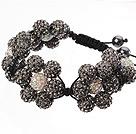 黑灰色软陶花朵手链 水钻球编织款