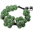 绿色软陶花朵手链 水钻球编织款