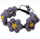 紫色软陶花朵手链 水钻球编织款