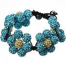 蓝色软陶花朵手链 水钻球编织款