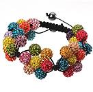 彩色软陶花朵手链 水钻球编织款