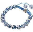 蓝白色手绘玛瑙手链 单层编织绳款