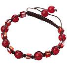 红玉髓 方形人造水晶手链 单层编织绳款