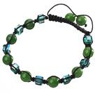 绿玉髓 方形人造水晶手链 单层编织绳款