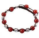 红玛瑙 方形人造水晶手链 单层编织绳款