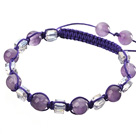 紫水晶 方形人造水晶手链 编织款