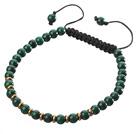 天然孔雀石手链 配金属隔珠 单层编织绳款