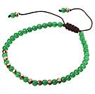 绿色彩玉手链 配金属隔珠 单层编织绳款