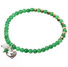 绿色彩玉手链 配铜珠 合金桃心 单圈圆珠带坠弹力线款