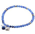 蓝色彩玉手链 配铜珠 合金桃心 单圈圆珠带坠弹力线款