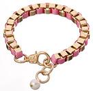 金色铝链 配珍珠吊坠