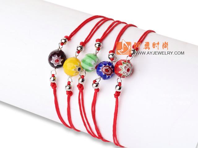 眼睛琉璃珠红绳手链 5条入
