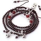 石榴石红玛瑙多圈手链 项链 两用链 多层缠绕编织绳款