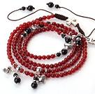 红玛瑙多层手链 项链 两用链 配黑玛瑙 多层缠绕编织绳款
