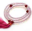 刻面蛋白石 红玛瑙手链 项链两用款 多层缠绕弹力线 流苏款