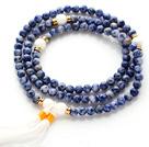蓝纹石 白砗磲手链 项链两用款 多层缠绕弹力线 流苏款