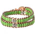 绿松石手链 双层皮绳编织款