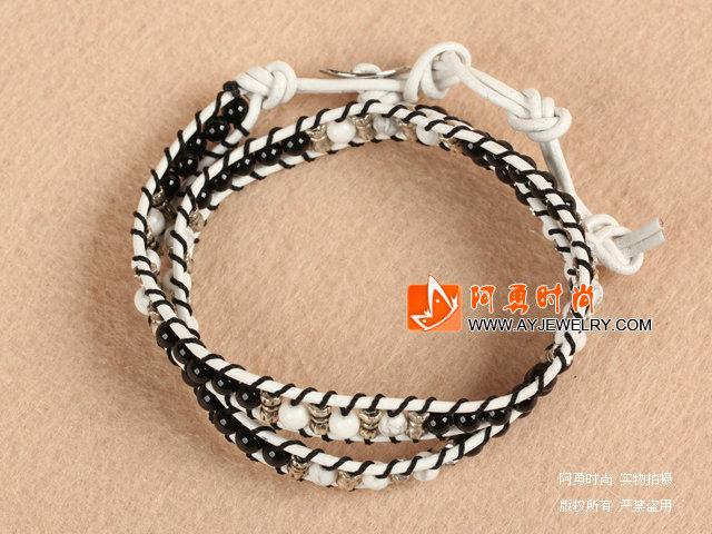 白松石配玛瑙手链 双层皮绳编织款