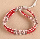 白松石配珊瑚手链 双层皮绳编织款