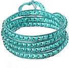 湖蓝水晶蜡绳手链 4圈编织缠绕款