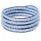 蓝水晶蜡绳手链 4圈编织缠绕款