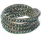 绿彩水晶多层绕圈编织手链