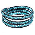 蓝色水晶皮绳手链 三圈缠绕款