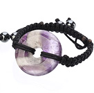 紫花晶平安扣手工手链 简约单层编织手链
