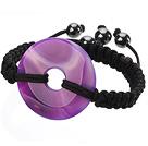 紫玛瑙平安扣手工编织手链 单层编织绳款