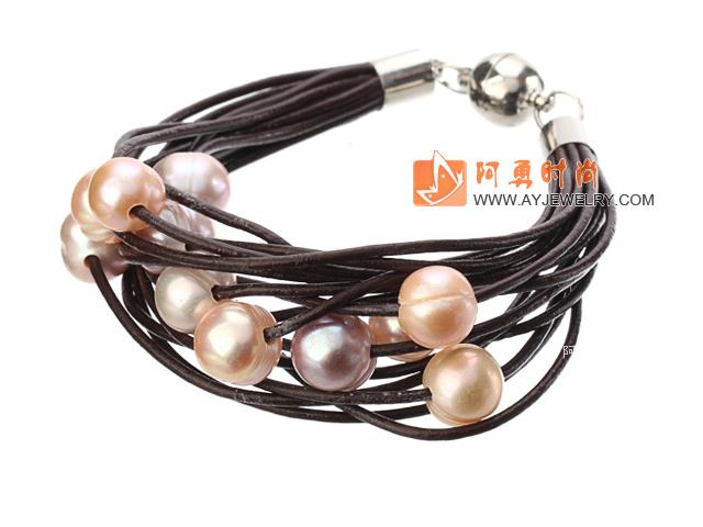 粉珍珠手链 多层皮绳款
