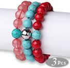 西瓜水晶松石红血石手链 单圈圆珠带坠弹力线款 3件装