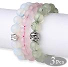 蛋白石粉晶葡萄石手串 单圈圆珠带坠弹力线款 3件装