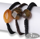 玛瑙手链 随形单圈编织皮绳款 3件装