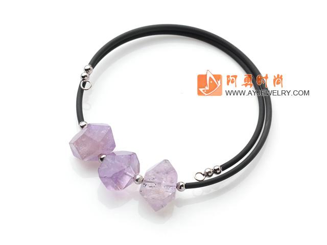 冲角紫晶手链 单圈弹力皮绳款