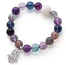 10mmA级紫萤石白砗磲手链 单圈圆珠带坠弹力线款