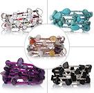紫晶白水晶松石黑玛瑙多宝手链 多层缠绕弹簧款 5件装