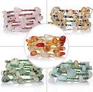 芙蓉石原色玛瑙亚马逊石葡萄石多宝手链 多层缠绕弹簧款 5件装