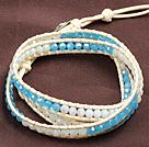 蓝白水晶三圈绕圈手链
