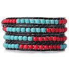 松石珊瑚手链 四层皮绳编织缠绕款