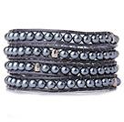 亚克力黑珍珠皮绳手链 多圈缠绕款