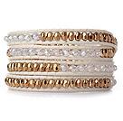 人造水晶镀金水晶手链 四层皮绳缠绕编织款